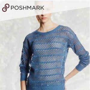 TRINA TURK Open Knit Sweater  BLUE Size LARGE